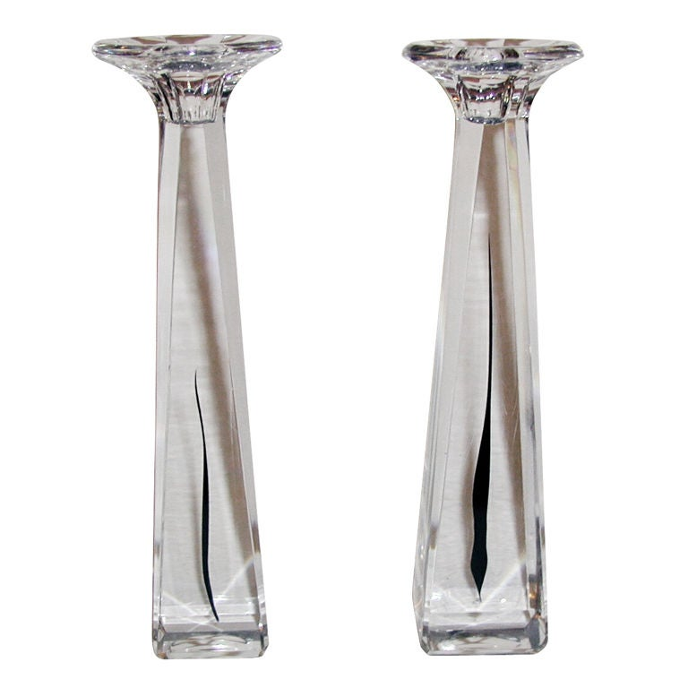 Pair Kosta Crystal Candlesticks