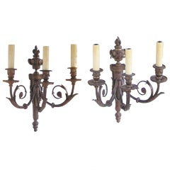 Pair of French Bronze Three Arm Sconces
