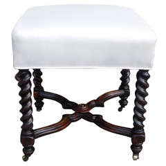 English Mahogany Barley Twist Foot Stool. Circa 1820