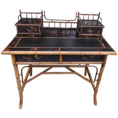 English Faux Bamboo Black Lacquered Writing Desk, Circa 1830