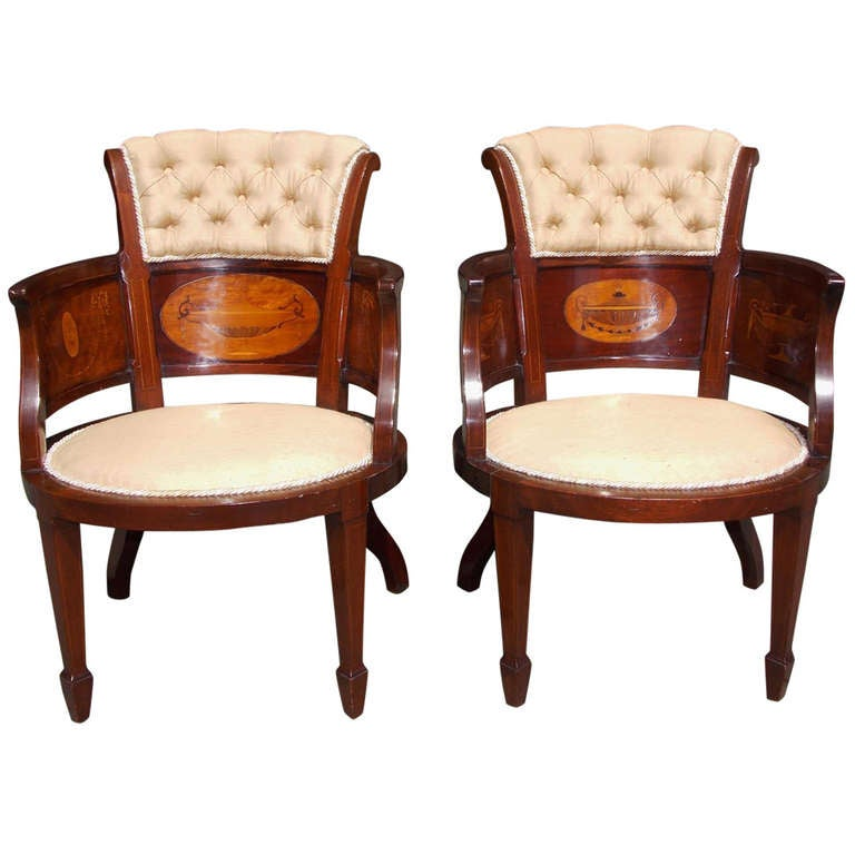 Pair of English Mahogany and Satinwood Arm Chairs. Circa 1850