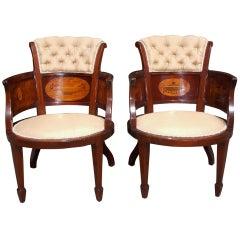 Pair of English Mahogany and Satinwood Arm Chairs. Circa 1850