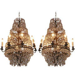 Pair of French Bronze and Crystal Chandeliers, Circa 1820