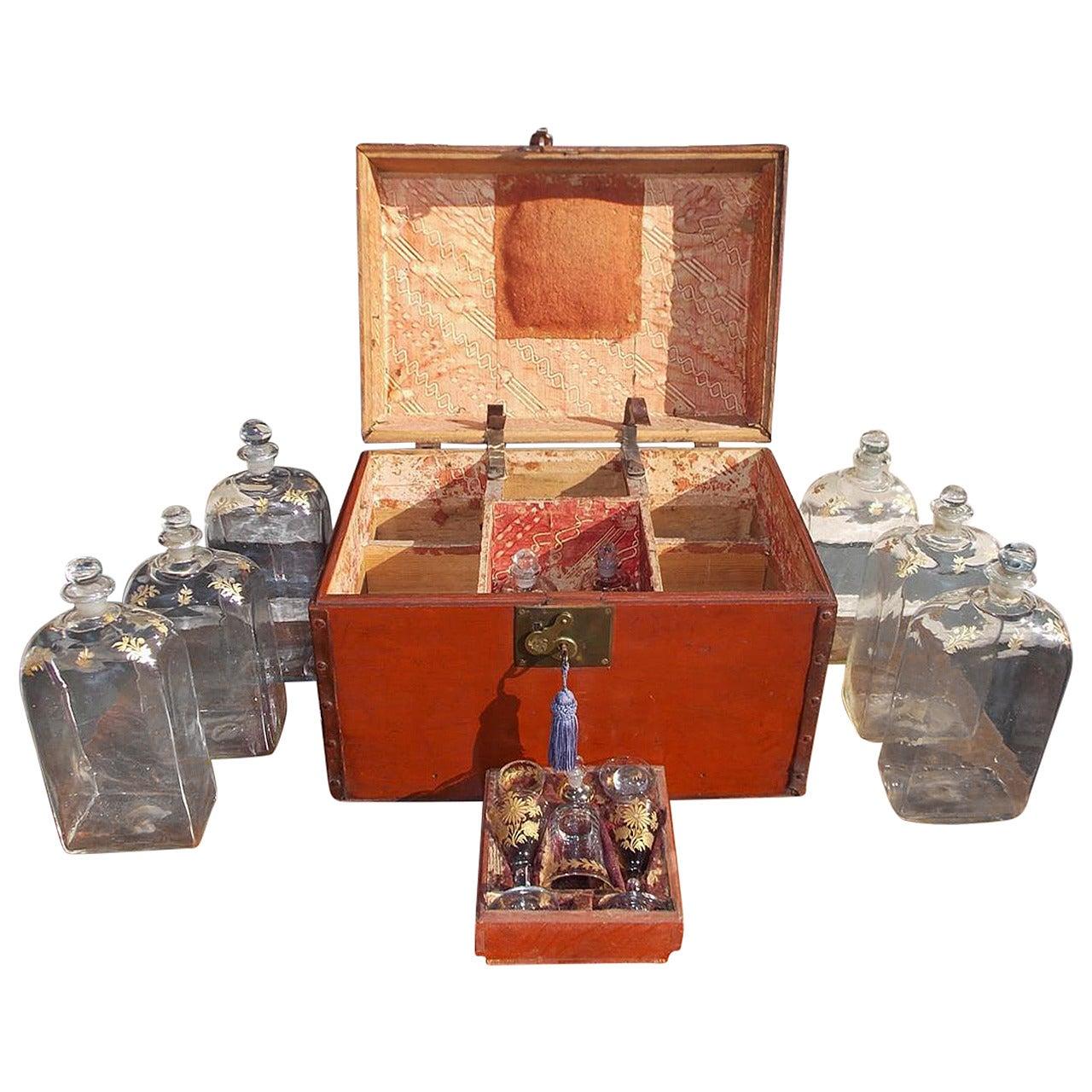 American Pine Liquor Traveling Case, Circa 1810