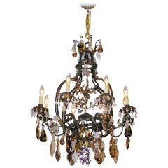 French Wrought Iron and Crystal Pear Shaped Chandelier.  Circa 1850