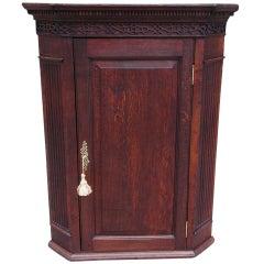 English Oak Hanging Corner Cabinet.  Circa 1780