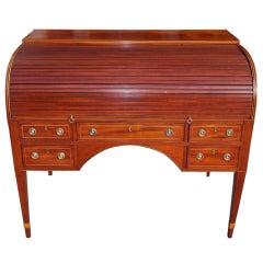 English Hepplewhite Mahogany Tambour Writing Desk. Circa 1780