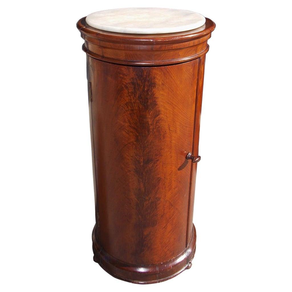 English Crotch Mahogany Marble Top Commode. Circa 1835