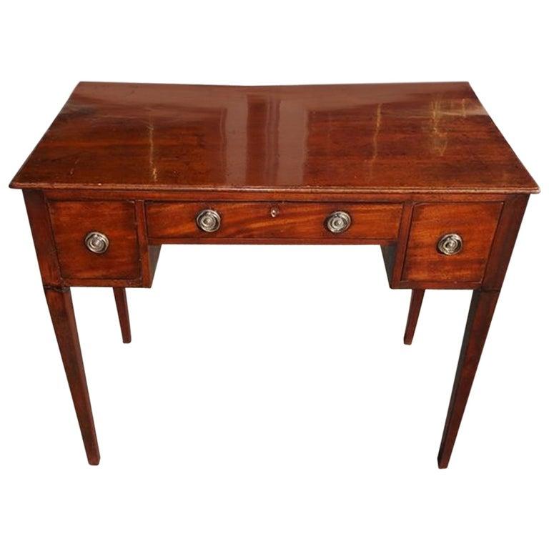 English Hepplewhite Mahogany Three Drawer Writing Table.  Circa 1790 For Sale
