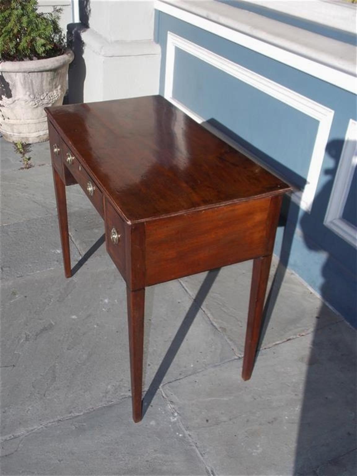 Brass English Hepplewhite Mahogany Three Drawer Writing Table.  Circa 1790 For Sale