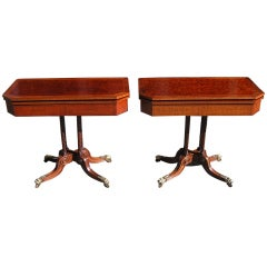 Pair of English Plumb Pudding Mahogany Game Tables. Circa 1780