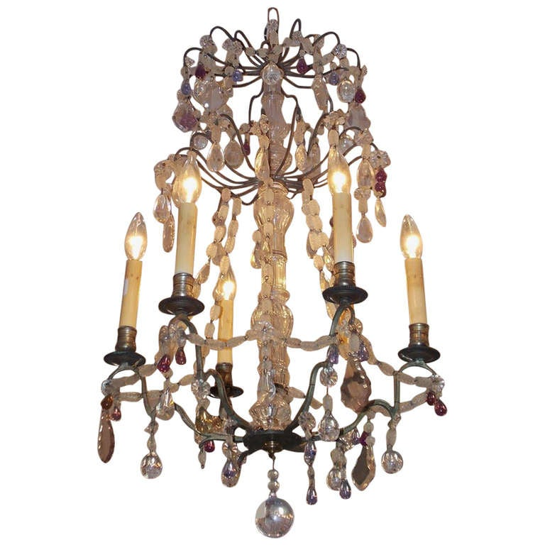 French Nickel Silver and Crystal Chandelier.  Circa 1830