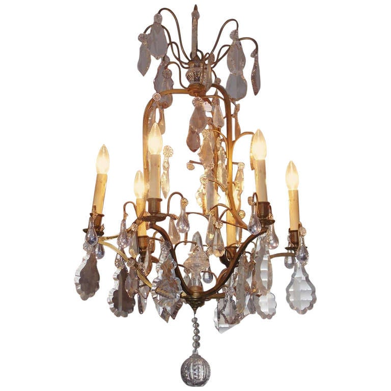 French Gilt Bronze and Crystal Chandelier.  Circa 1830