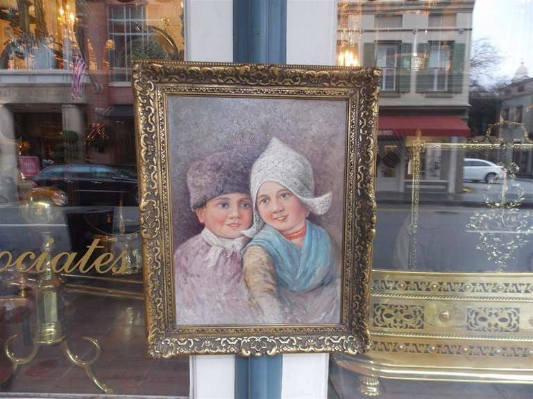 Dutch Oil on Canvas in Gilt Frame. Circa 1860 In Excellent Condition For Sale In Charleston, SC
