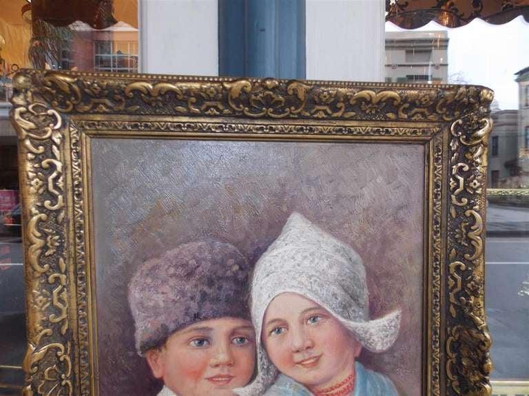 19th Century Dutch Oil on Canvas in Gilt Frame. Circa 1860 For Sale