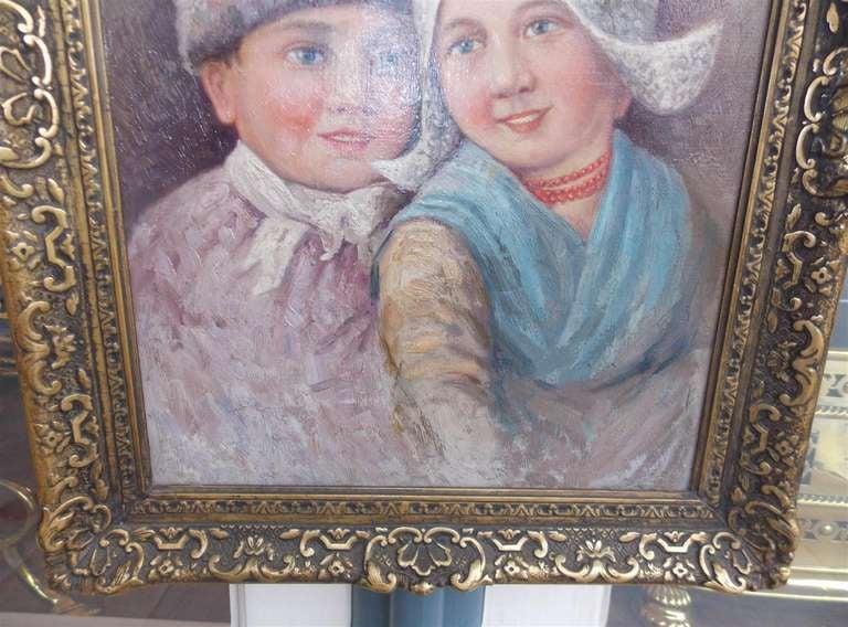 Dutch Oil on Canvas in Gilt Frame. Circa 1860 For Sale 1