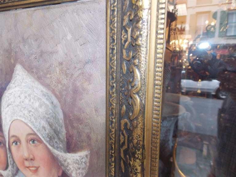 Dutch Oil on Canvas in Gilt Frame. Circa 1860 For Sale 2