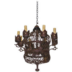 American Wrought Iron Scrolled Wire Work Chandelier.  Circa 1850