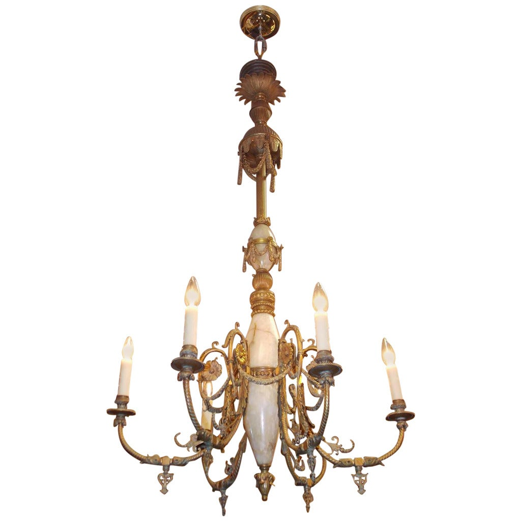Italian Gilt Bronze and Onyx Chandelier, Circa 1840