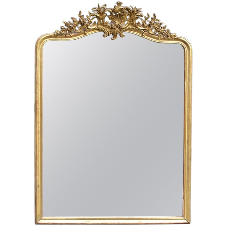 french gilt carved wood floral wall mantel mirror at 1stdibs