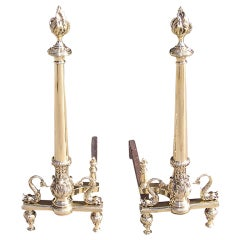 Pair of French Brass Dolphin Andirons