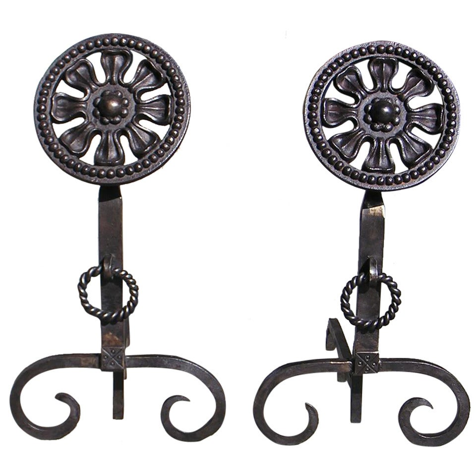 Pair of American Wrought Iron Floral Medallion Andirons 20th Century