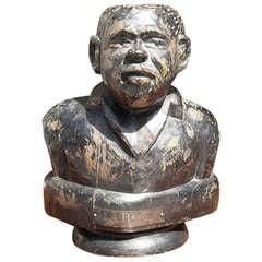 American Carved Wooden Bust of Jamaican, Marcus Mosiah Garvey, Jr. Early 20th Century