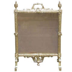 French Brass Free Standing Fire Screen. Circa 1820-30