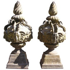 Pair of American Cast Iron Mythological Garden Ornaments