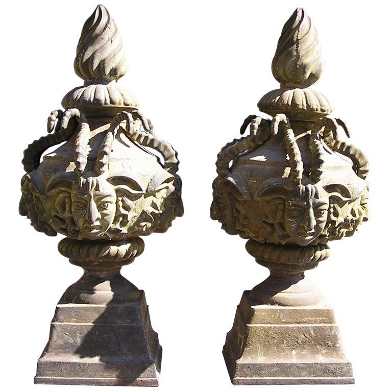 Pair of American Cast Iron Mythological Garden Ornaments