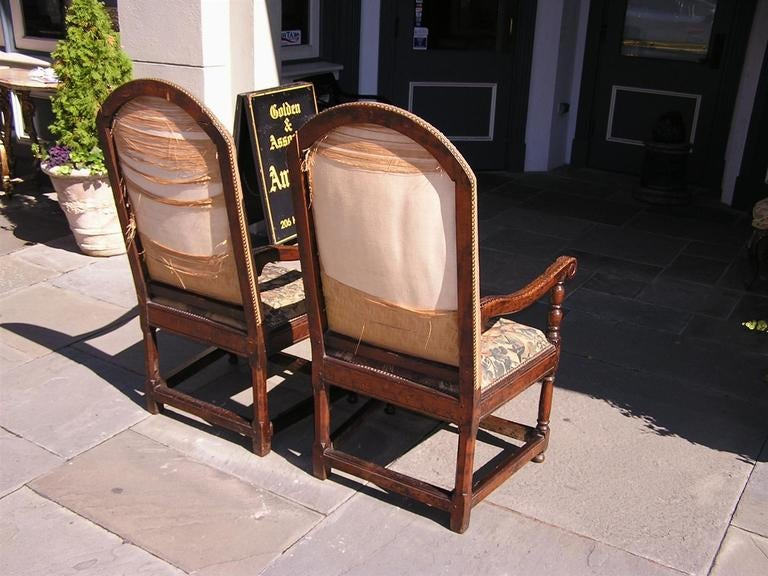 Pair of Italian Walnut Needlepoint Arm Chairs, 18th century For Sale 3