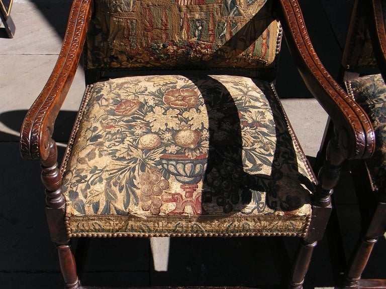 Hand-Carved Pair of Italian Walnut Needlepoint Arm Chairs, 18th century For Sale