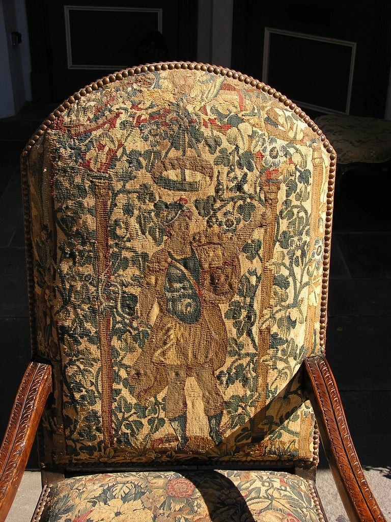 Pair of Italian Walnut Needlepoint Arm Chairs, 18th century In Excellent Condition For Sale In Charleston, SC