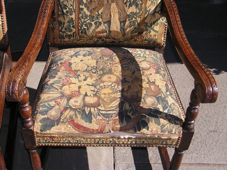 18th Century and Earlier Pair of Italian Walnut Needlepoint Arm Chairs, 18th century For Sale