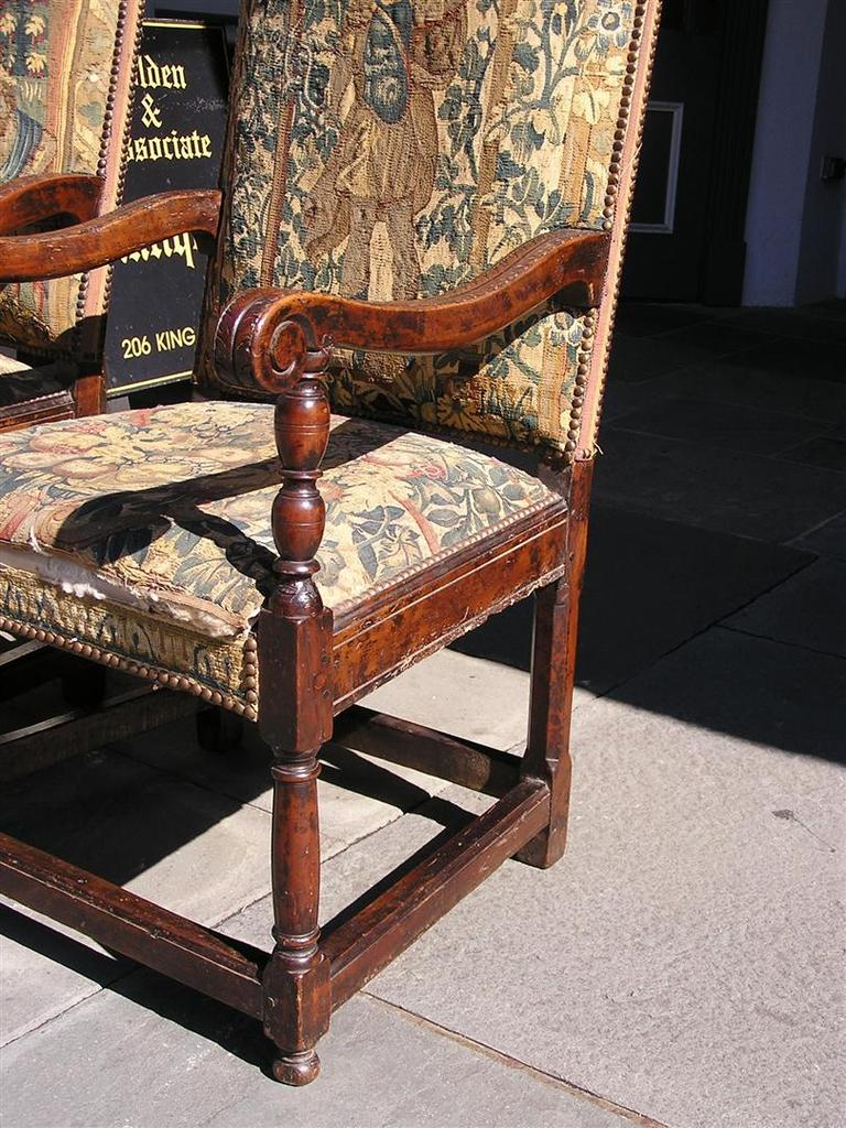 Upholstery Pair of Italian Walnut Needlepoint Arm Chairs, 18th century For Sale