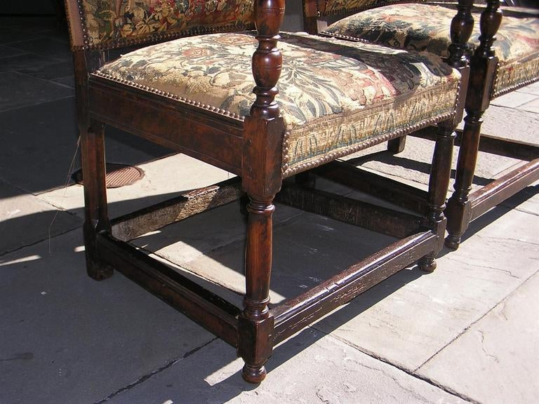 Pair of Italian Walnut Needlepoint Arm Chairs, 18th century For Sale 2