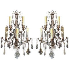 Pair of French Gilt Bronze and Crystal Sconces.  Circa 1820