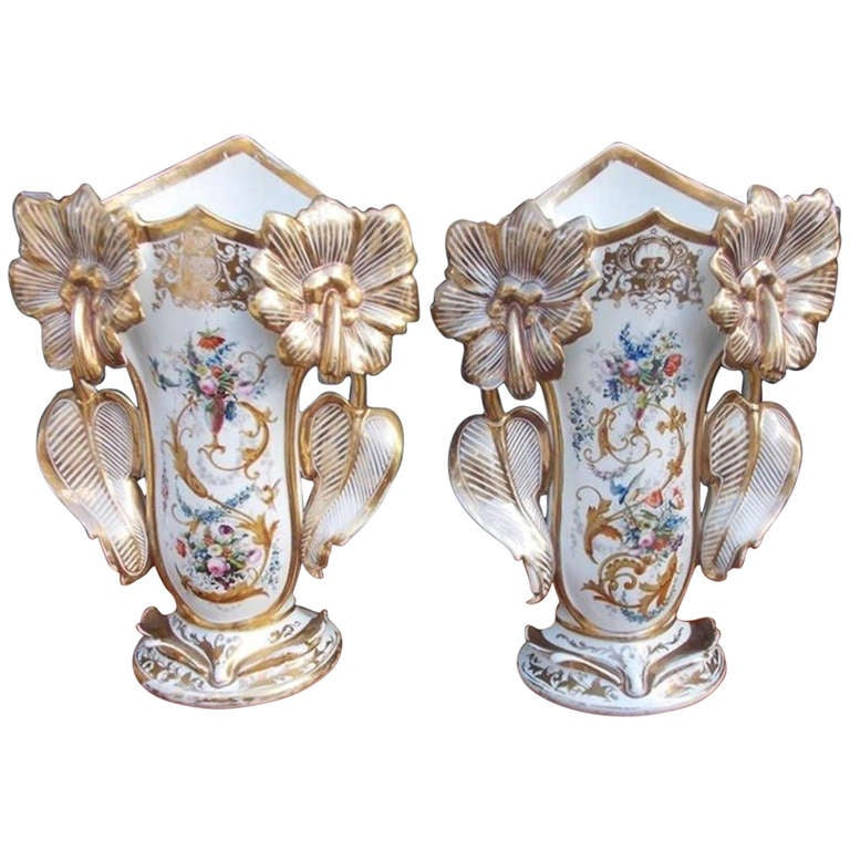 Pair of Old Paris Vases. Circa 1840