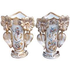 Pair of Old Paris Vases. Circa 1840