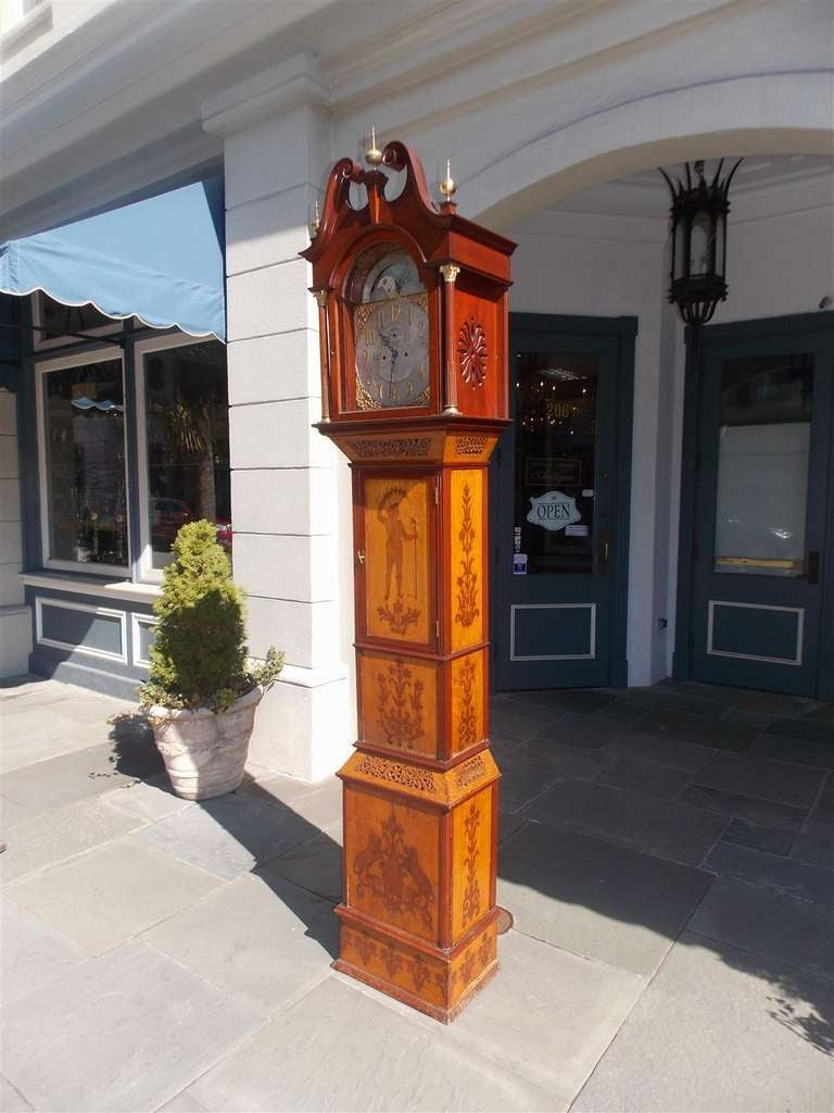 British English Mahogany Tall Case Clock. Circa 1870 For Sale