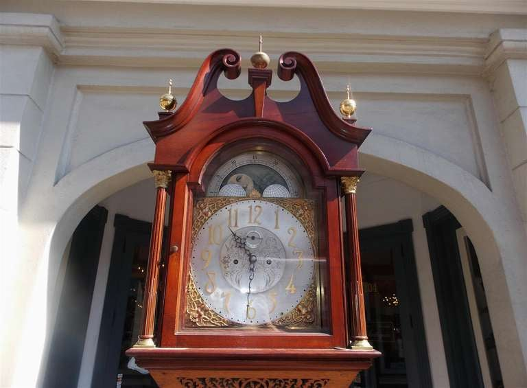English Mahogany Tall Case Clock. Circa 1870 In Excellent Condition For Sale In Charleston, SC