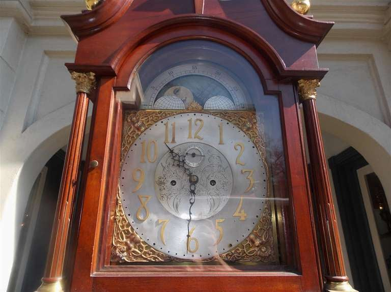 19th Century English Mahogany Tall Case Clock. Circa 1870 For Sale