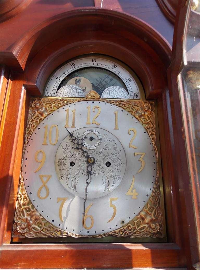 English Mahogany Tall Case Clock. Circa 1870 For Sale 1