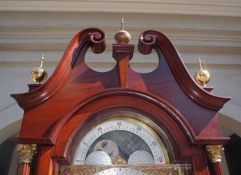 English Mahogany Tall Case Clock. Circa 1870 For Sale 3