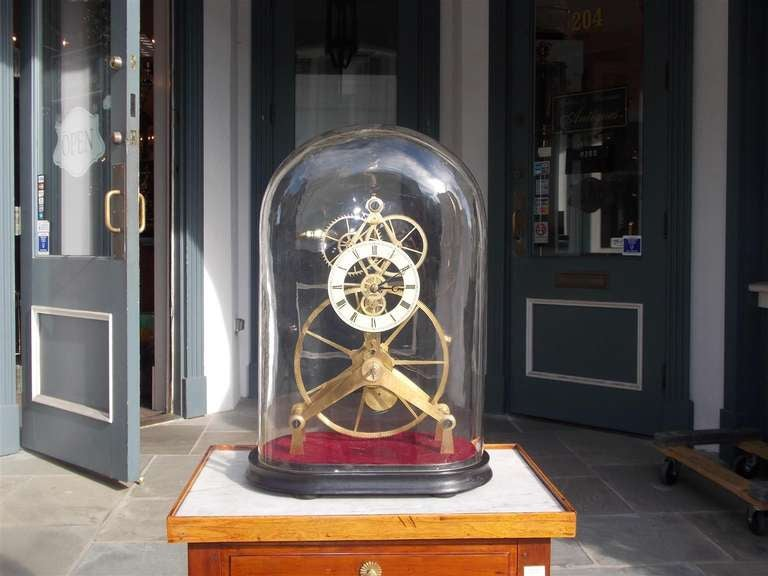 English great wheel skeleton clock under dome circa 1900 at 1stdibs