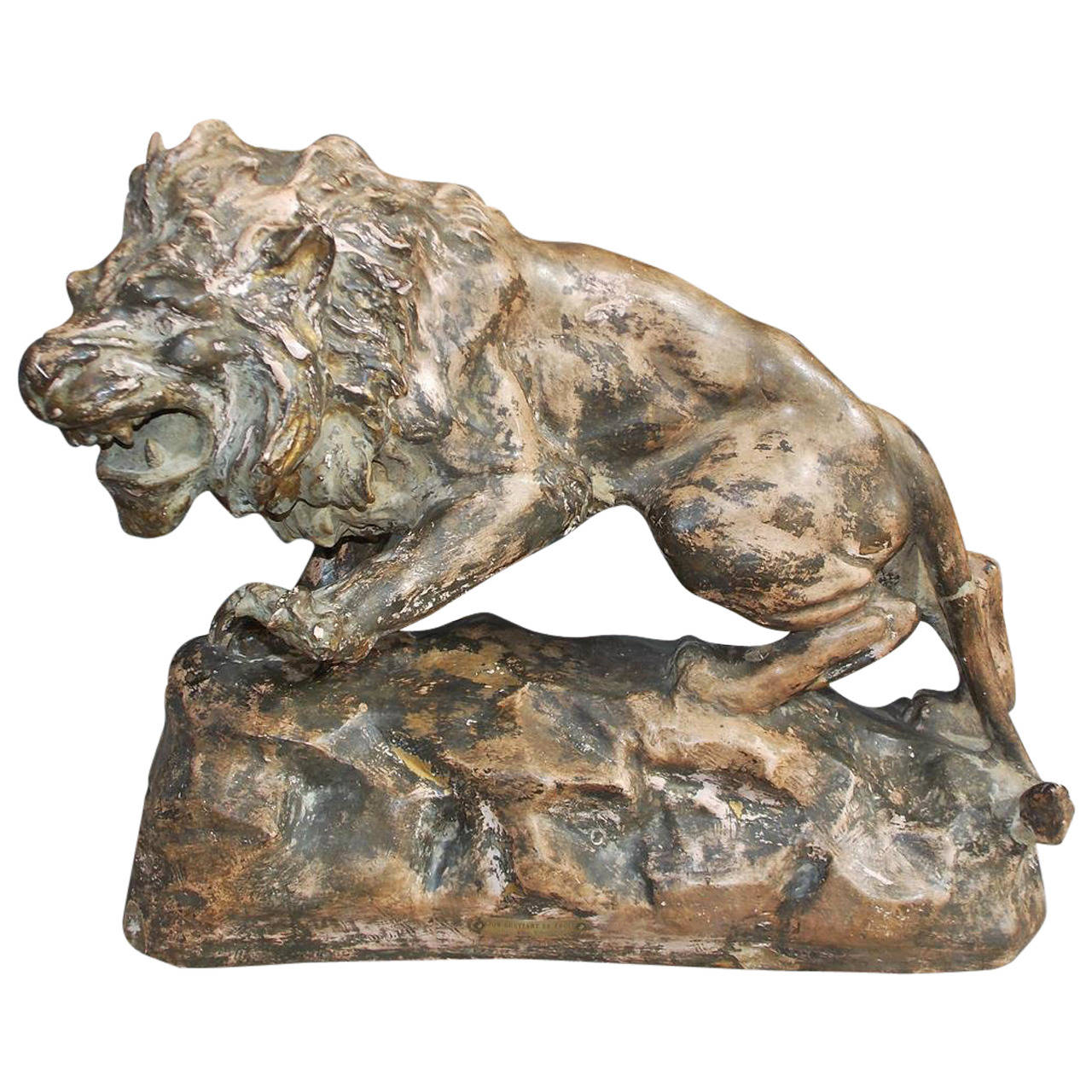 French Terracotta Lion on Rocky Plinth.  Circa 1880 For Sale