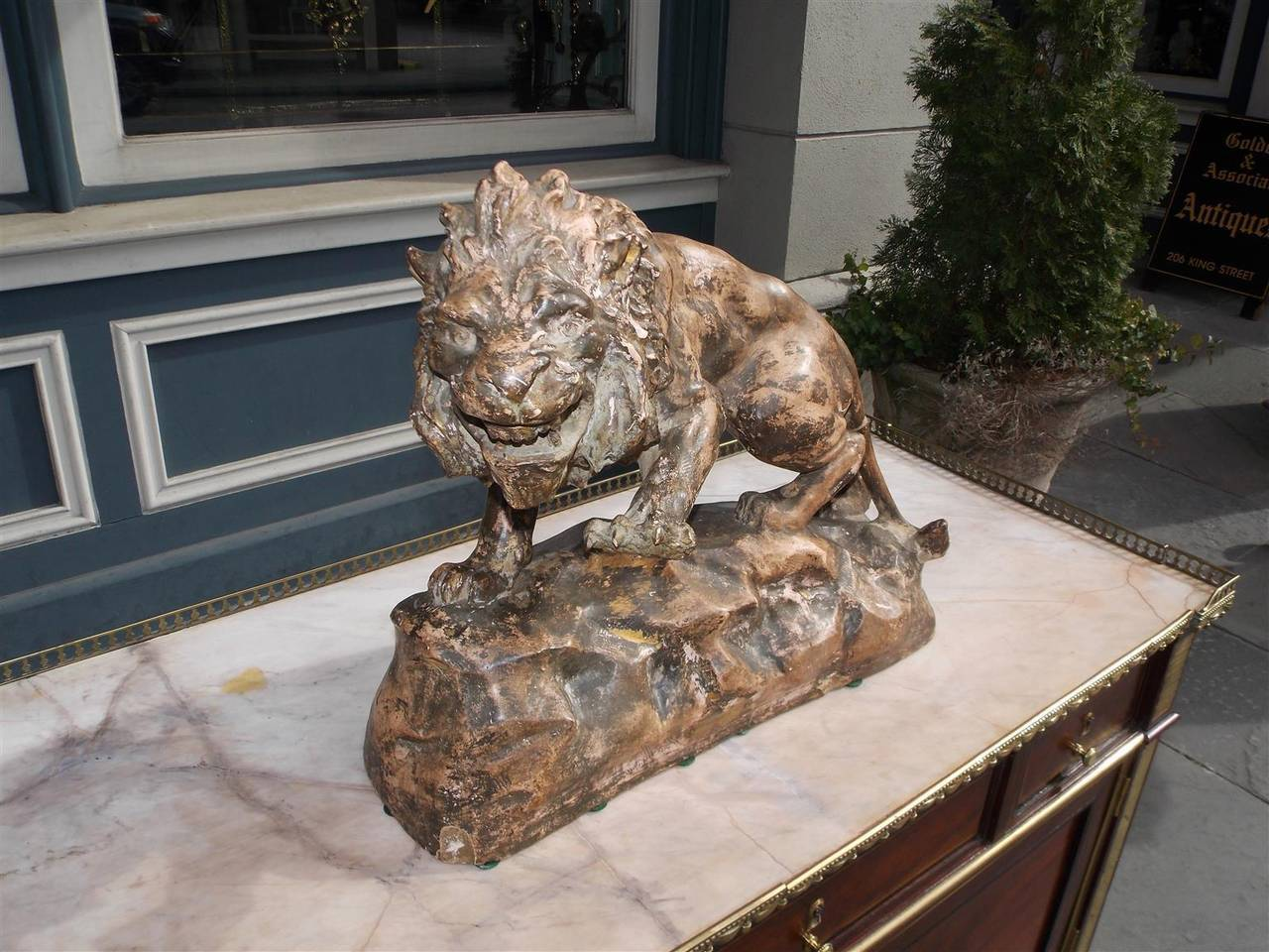 Victorian French Terracotta Lion on Rocky Plinth.  Circa 1880 For Sale