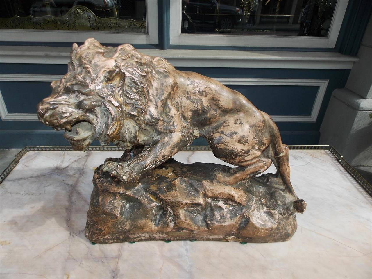 Late 19th Century French Terracotta Lion on Rocky Plinth.  Circa 1880 For Sale