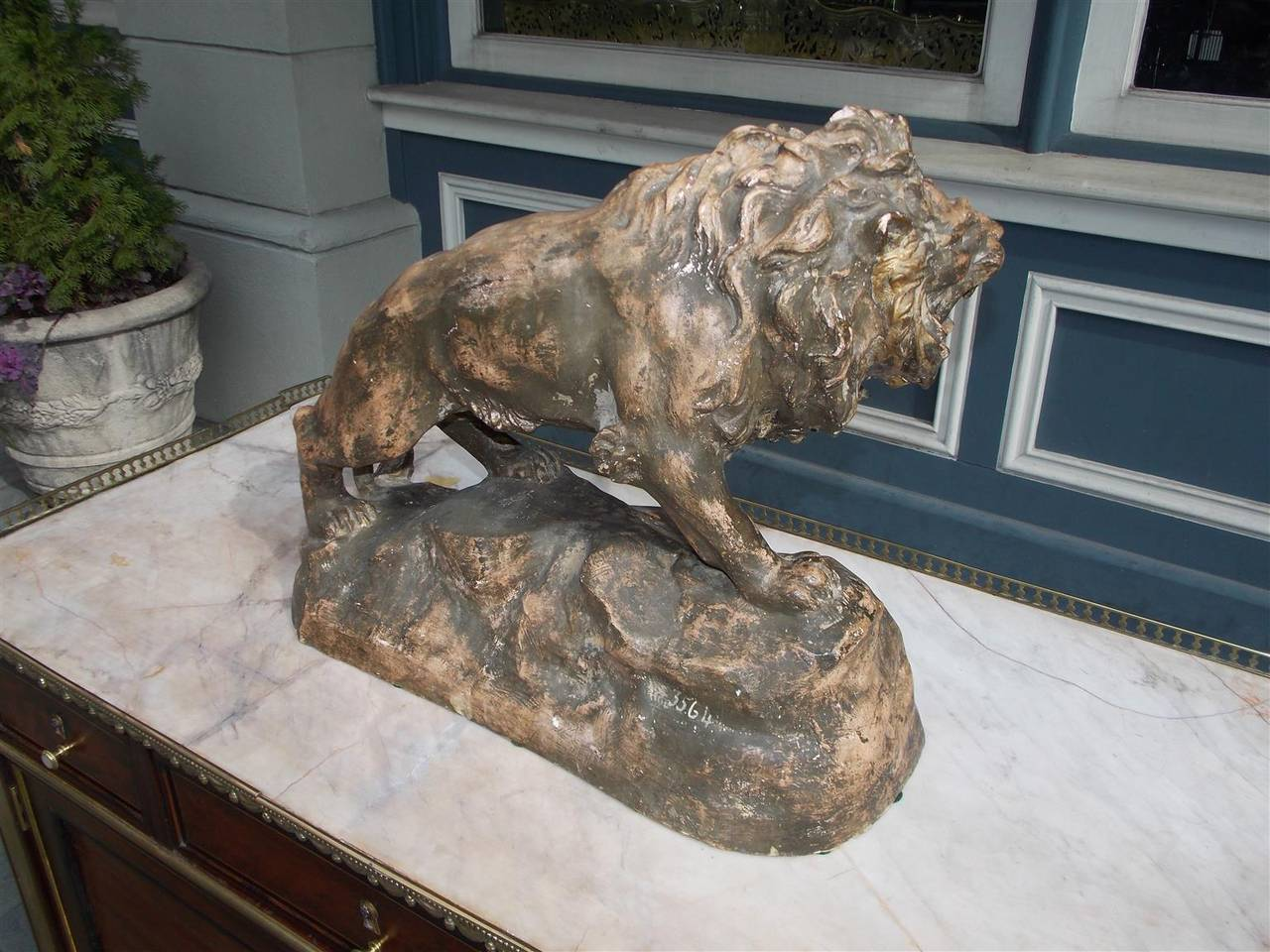 French Terracotta Lion on Rocky Plinth.  Circa 1880 For Sale 4