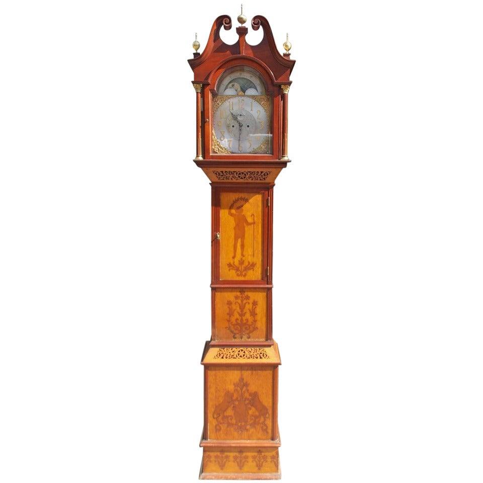 English Mahogany Tall Case Clock. Circa 1870